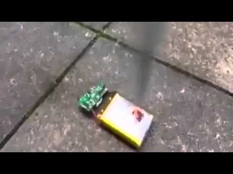 Watch the EXPLOSIVE moment a phone battery is stabbed with a kitchen knife