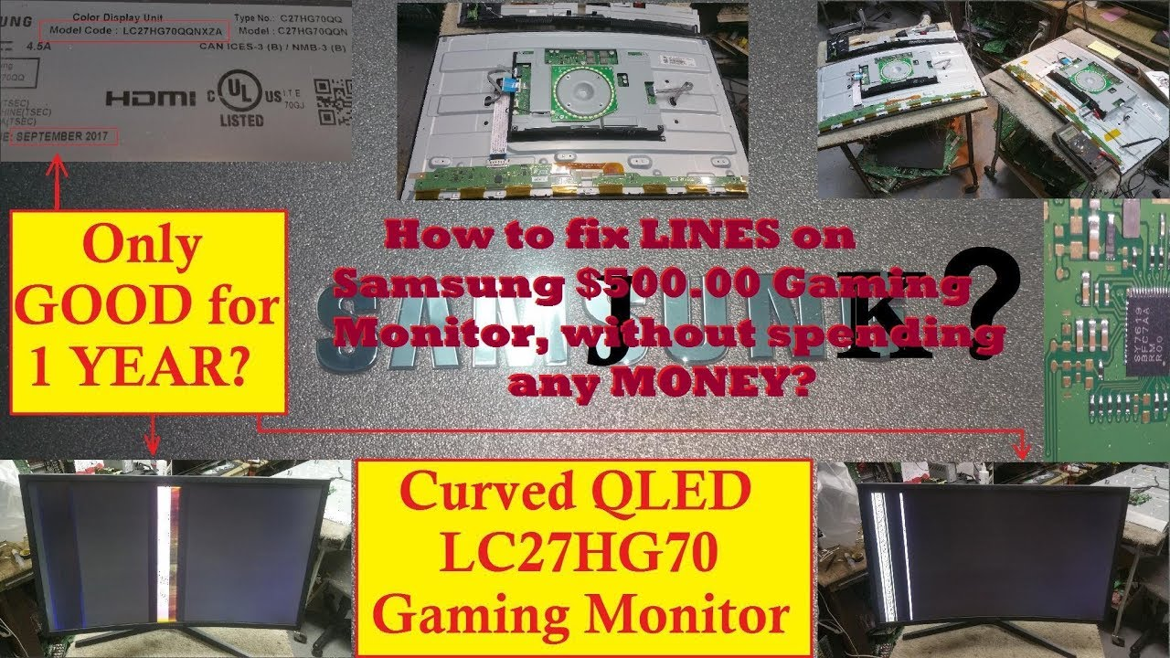 Samsung Gaming Monitor Vertical Lines problem FIX / REPAIR  Model # LC27HG70