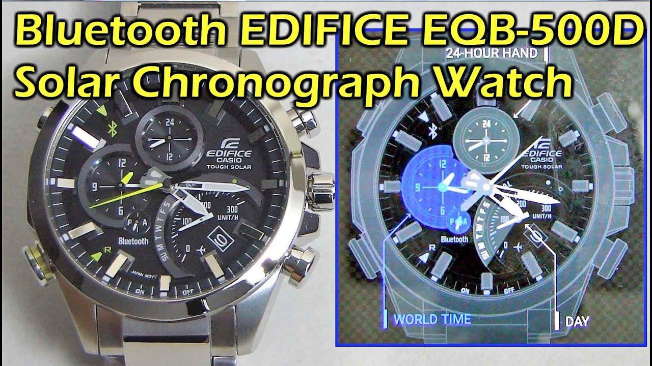 bbaddcedc187 Bluetooth Casio EDIFICE EQB-500D Solar Chronograph Watch - YouTube