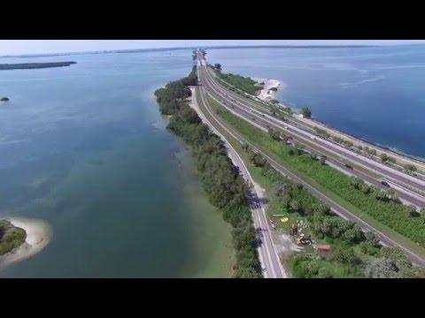 Tampa Bay Bridge. St. Petersburg, Florida. 4K.