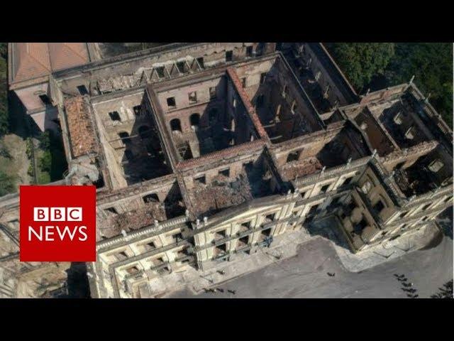 Brazil museum fire: Drone footage - BBC News