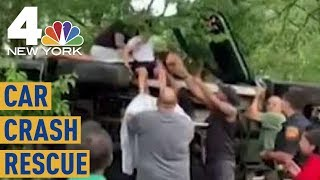 Watch Good Samaritans Save a Family in Overturned Car | NBC New York