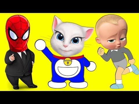 Learn Colors Family Doraemon Wrong Heads Spiderman Sofia Angela Boss Baby Finger Family Song