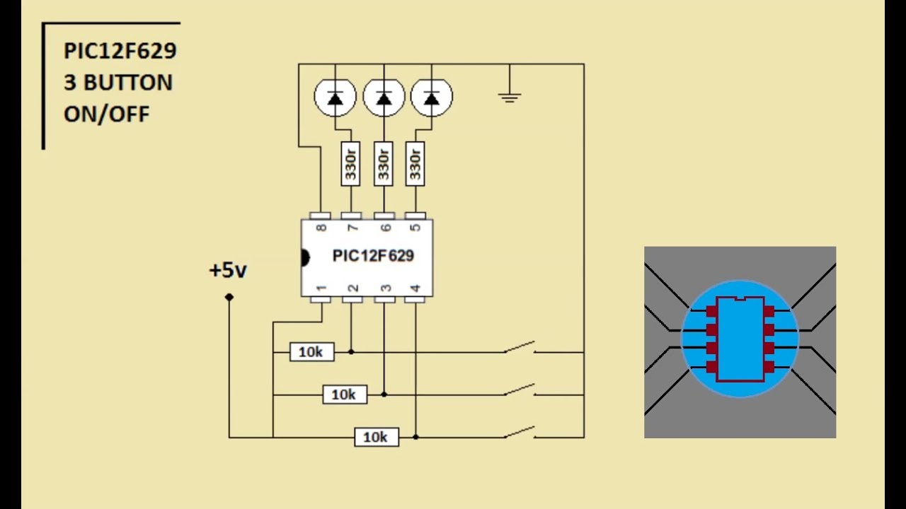 Simple 3 Button On Off With 12f629 Mikroc Code Is In Description Pickit Circuit Diagram