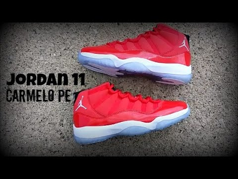 new style 976d9 1e410 clearance retro red factory sale cdbdf 6e572 jordan 11 carmelo pe sample  1080hd review youtube 77ad6