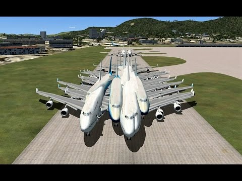 FSX Multiplayer: The BIGGEST 747 Group Takeoff EVER (Kai Tak Airport)