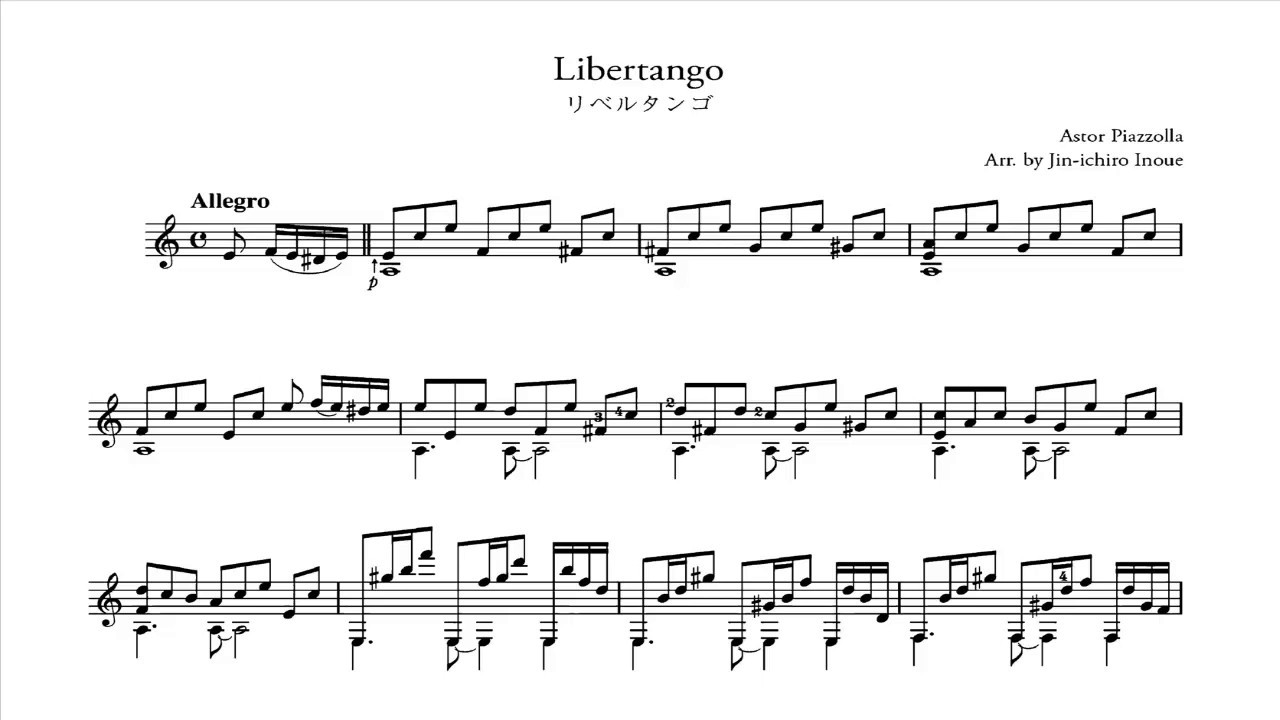 Astor Piazzolla - Libertango (Audio + Partitura) Guitarra