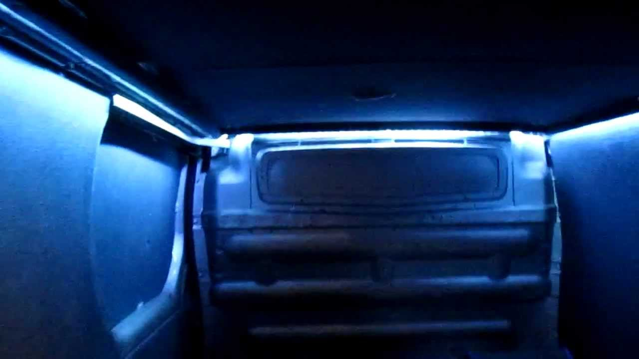 LED Strip Lighting In Back Of Van Conversion