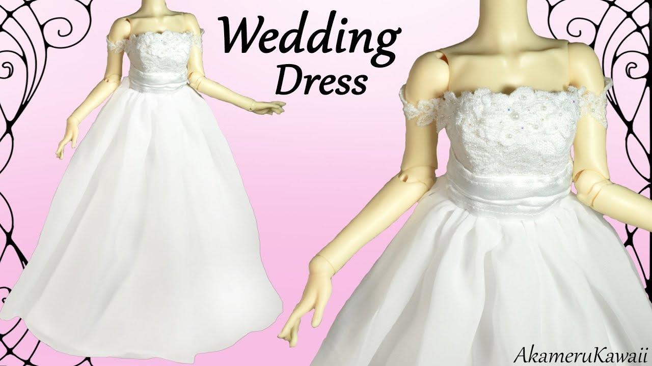 How to: Mini Wedding Dress - BJD / Barbie Doll Dress Tutorial - YouTube