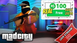 FREE ROBUX GIVEAWAY!! MAD CITY 2019 FREE ROBUX IN ROBLOX GAME!!