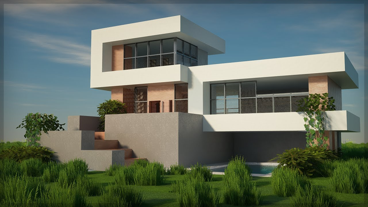 Building Minecraft Modern House Realistic Graphics 2021 Raytracing Youtube