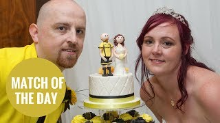 Football mad groom wears Burton Albion FC colours to wed bride