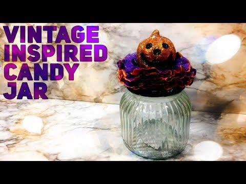Dollar Tree DIY Vintage Halloween Candy Jar -- Halloween 2019