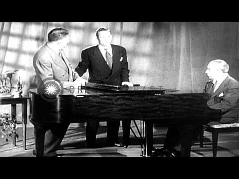 "Oscar Hammerstein introduces the song ""You've Got to be Taught"" during Brotherhoo...HD Stock Footage"