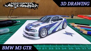 3D Drawing BMW M3 GTR - NFS Most Wanted | Time Lapse