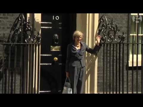Theresa May leaves 10 Downing Street and walks to the wrong car