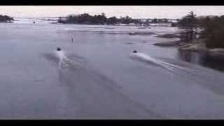 Snowmobiles on water