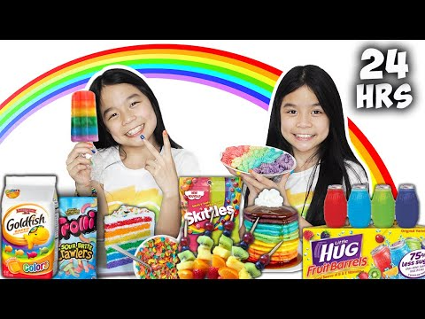 We Only Ate RAINBOW FOOD For 24 HOURS Challenge!