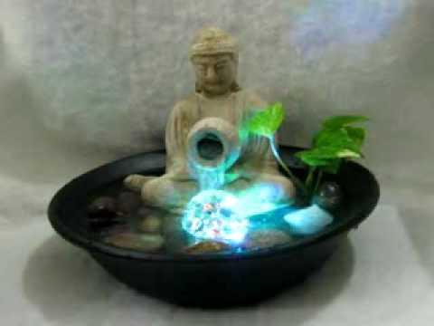 Fuente de agua feng shui buda c esfera c luz for Fuentes decorativas de interior