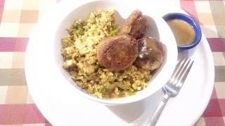 Delicious Pan Fried Salmon Balls & Spicy Rice Bowl