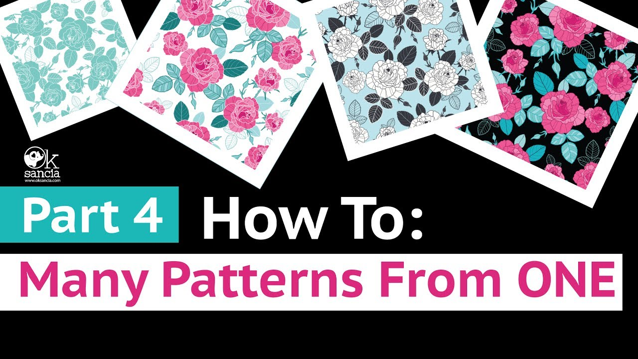 Part 4 LIVE: How To Create Many Vector Repeat Patterns From Just One Pattern Fast. Roses Collection.