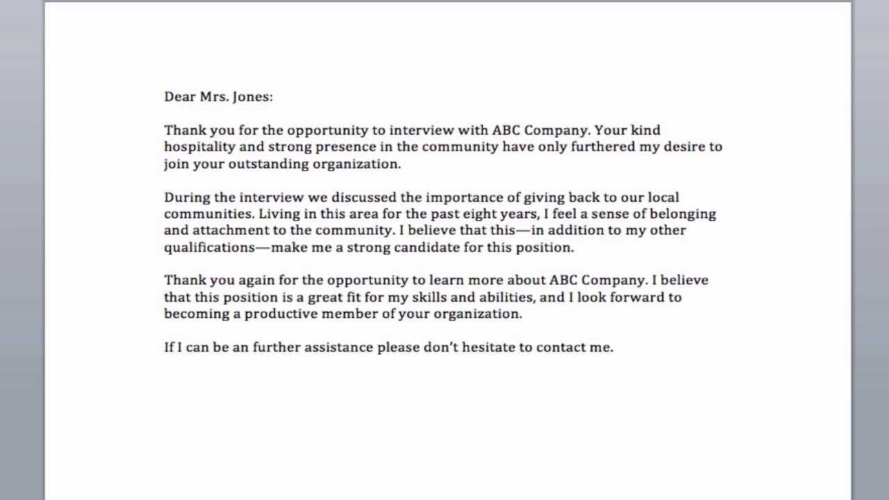 thank you after interview letter