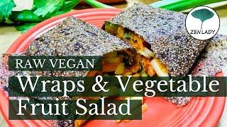 Raw vegan wraps & vegetable fruit salad. Raw Vegan Japan. Step by step recipe ロービーガンטבעונאי