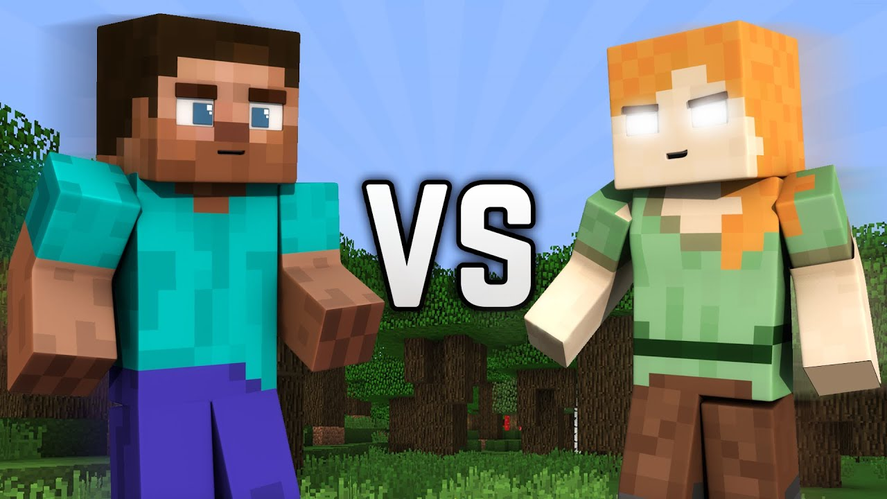 Steve VS Herobrine Alex - Minecraft - YouTube
