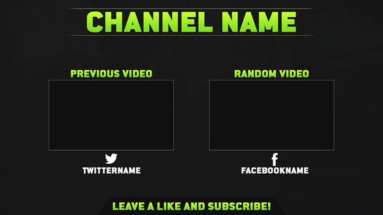 Free outro template v2 psd youtube for Blank outro template