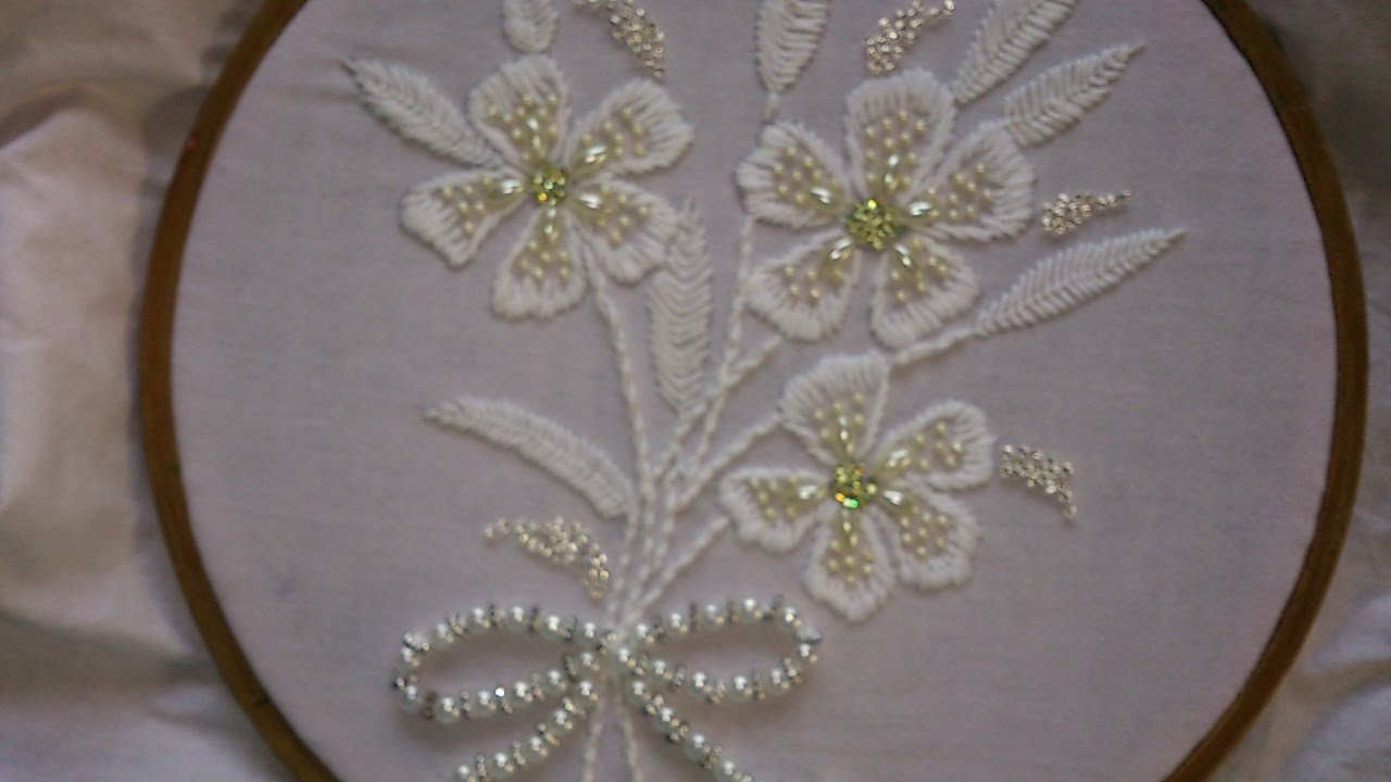 Hand Embroidery Designs White Work With Beads Embroidery Stitches
