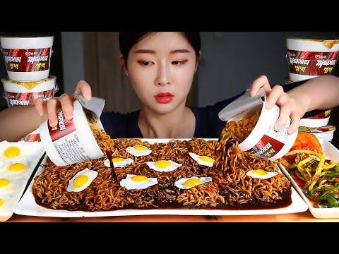 ASMR Mie Kacang Hitam 6 Gelas! Goreng Telur Puyuh Kimchi Mie Instan Korea MUKBANG Eating Show