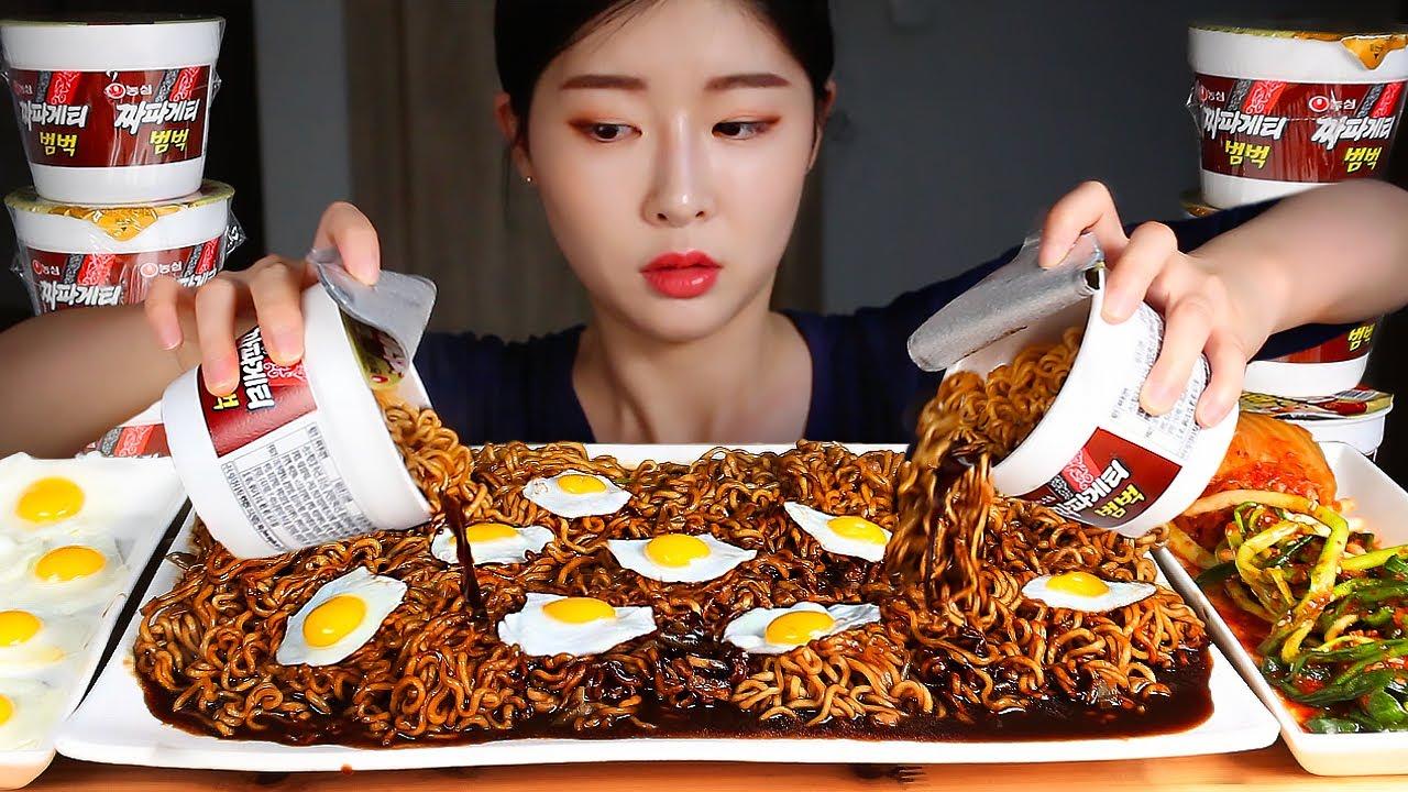 짜파게티범벅 6개 신김치 파김치 메추리후라이 먹방/BLACK BEAN CUP NOODLES X6 Fried Quail Eggs & Kimchi MUKBANG
