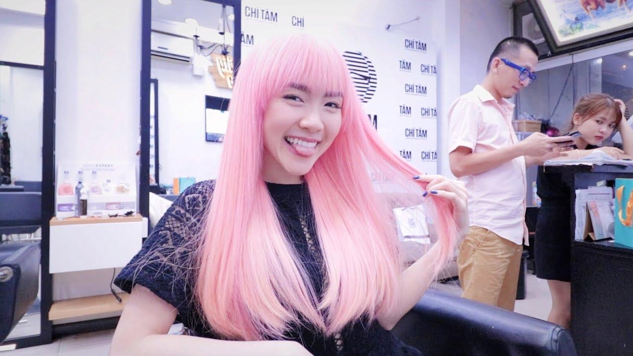 Quá trình biến hóa TÓC HỒNG 💓~Lần đầu tẩy tóc 2 lần | Lindsie Pham