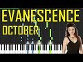 Evanescence - October Piano Tutorial - Chords - How To Play - Cover