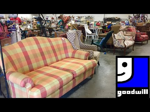GOODWILL FURNITURE SOFAS CHAIRS ARMCHAIRS HOME DECOR - SHOP WITH ME SHOPPING STORE WALK THROUGH 4K
