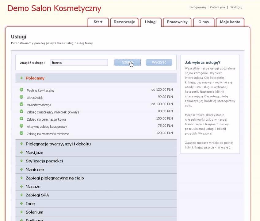 Zapisy24 Pl Salon Kosmetyczny Klient Wyszukuje Usluge Z Listy Youtube