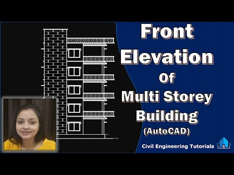 How to draw Front Elevation of Multi-Storey Building in AutoCAD || Building #2