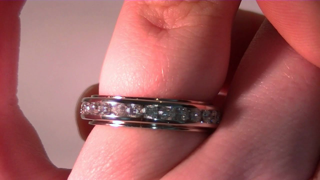 Spinning Channel Set Diamond Wedding Band - YouTube