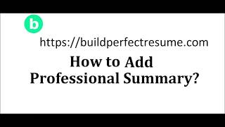 8. How to add professional summary? build perfect resume - buildperfectresume.com