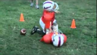 Crazy peewee football hit