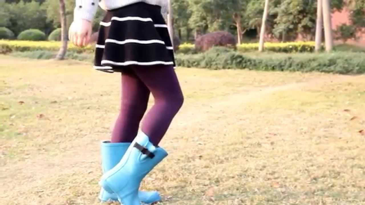 43df2d514e6 Beautiful Girls Walking On The Grass with Half Rubber Boots - YouTube