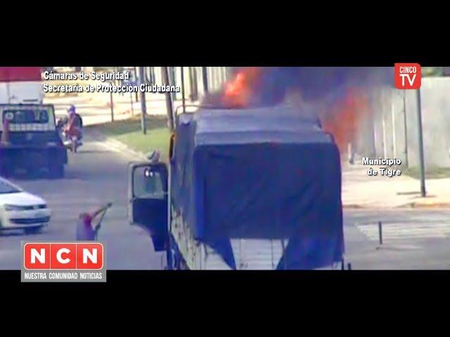 CINCO TV - Incendio de un camión fue controlado gracias a las cámaras de Tigre