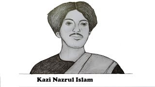How To Draw Kobi Kazi Nazrul Islam with pencil sketch.Step by step