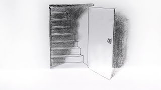 How to Draw a 3D Door and Steps with Pencil | Trick Art | 3D Door Illusion