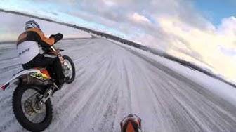 Mika and Vesa Kallio racing on ice in Finland