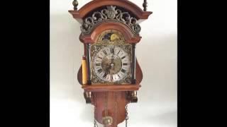 Warmink Vintage Dutch 8 Day Nut Wood Sallander Wall Clock With Moon Phase