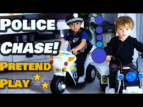 Pretend Play Police Chase | Funny Kids Story - Playing with TOYS ride ons!