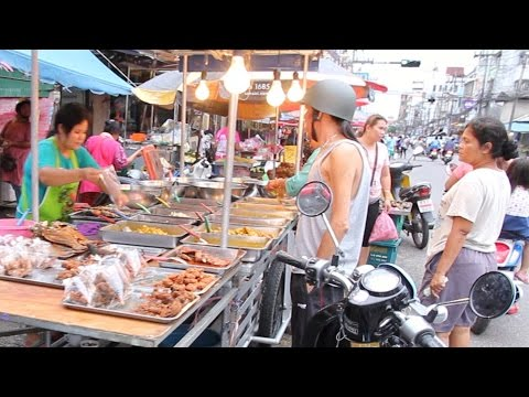 Street Food & Shopping at a Huge Street Market in Thailand. Thai Food Market in Hat Yai