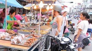 Street Food & Shopping at a Huge Street Market in Thailand. Thai Food Market in Hat Yai