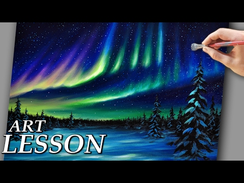 Acrylic Landscape Painting Lesson   Northern lights and night stars